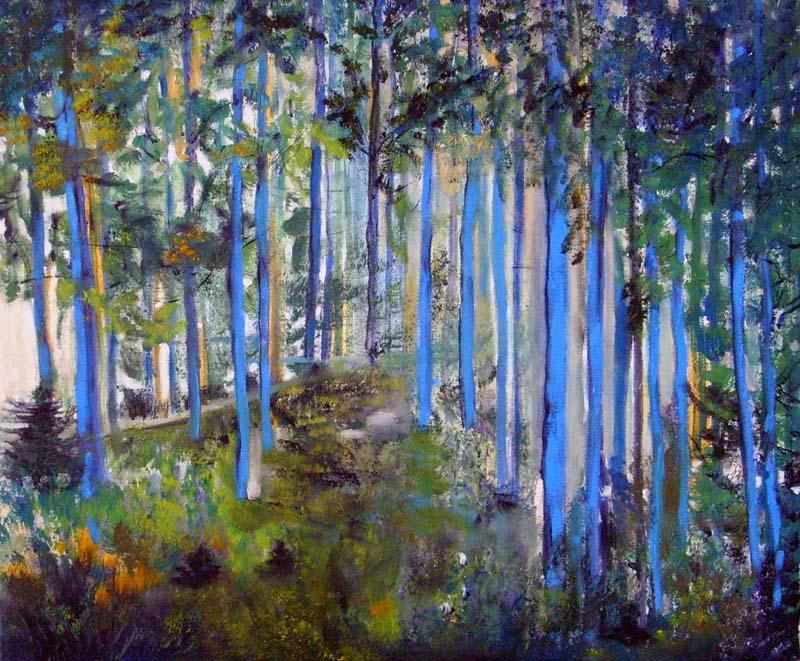 Blauer Kiefernwald